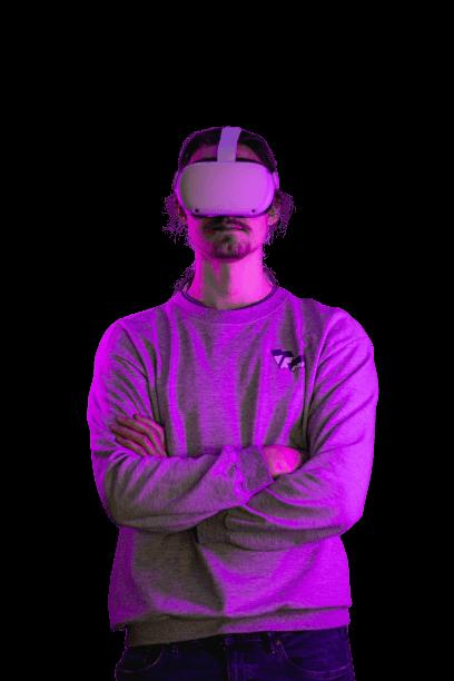Computer Nerd met VR-bril